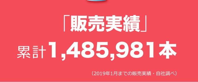 「販売実績」累計1,485,981本(2019年1月までの販売実績)
